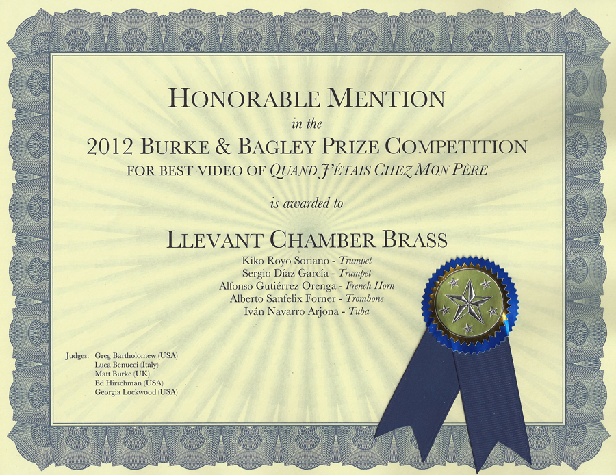 Burke bagley prize for Honorable mention certificate template
